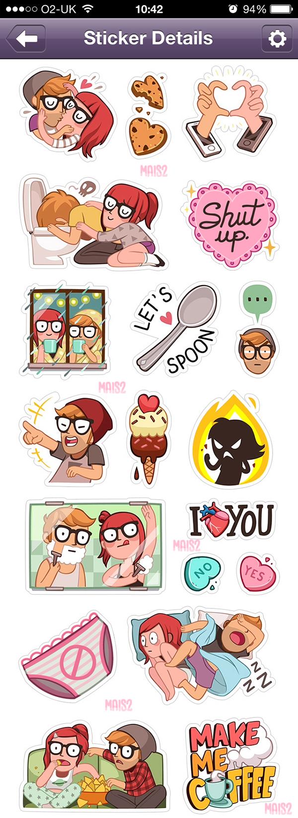 VIBER sticker set 3, Alex & Zoe on Behance