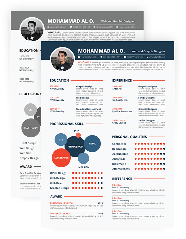 FREE Resume Template | Print Ready U0026 Two Color Versions On Behance  Print Free Resume