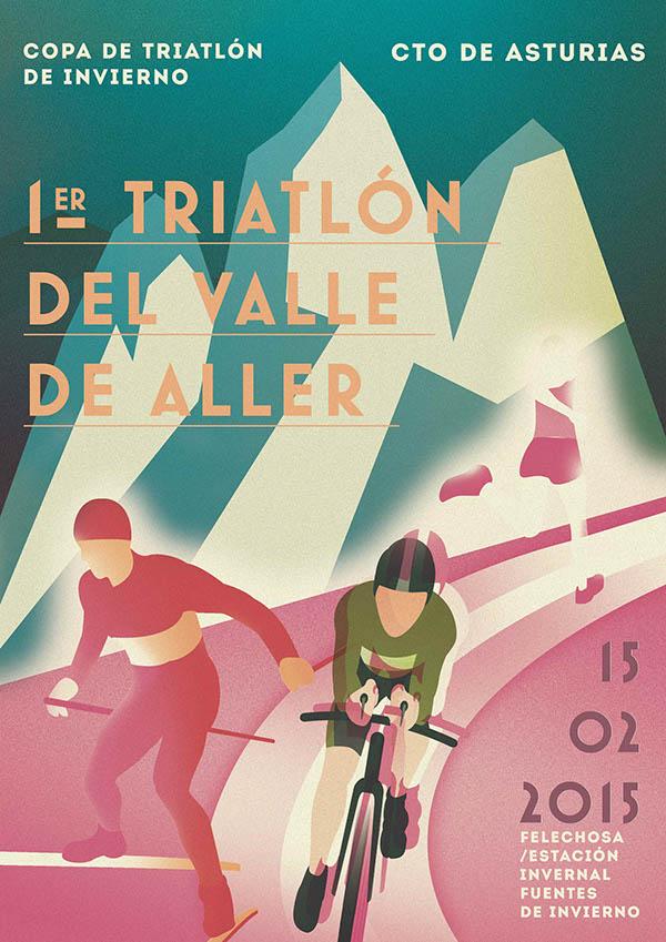 Winter Triathlon Poster Art/ 2014 by Roberto Rodriguez