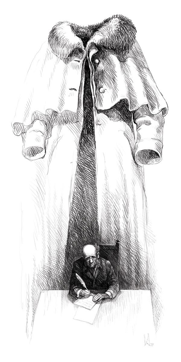 """Illustration for Gogol's """"The Overcoat"""" on Behance"""