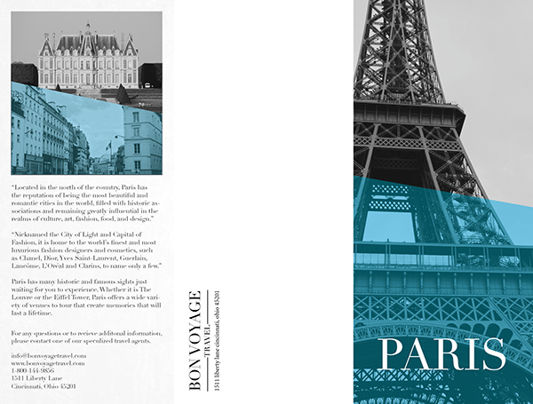 Paris travel brochure on behance for French brochure template