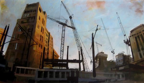 cityscape acrylic mixed media experimental