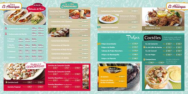 Men para restaurante de mariscos on pantone canvas gallery for Disenos de menus para restaurantes