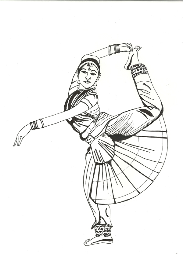 Kathak Dance Drawing Step 2