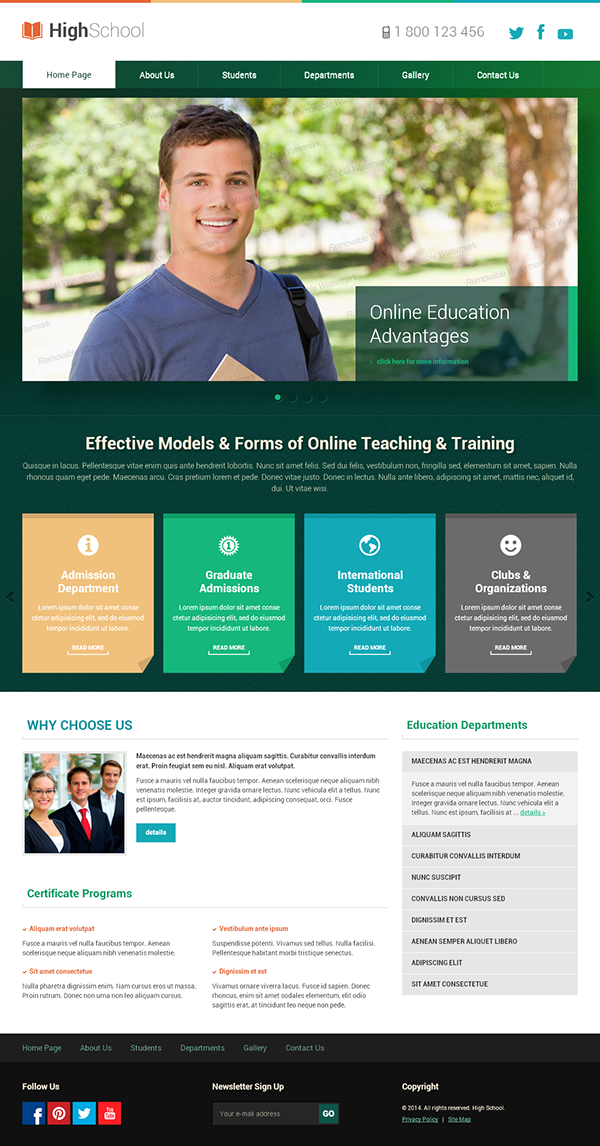 High School HTML Template on Behance