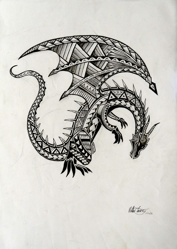 samoan dragon tattoo on behance. Black Bedroom Furniture Sets. Home Design Ideas