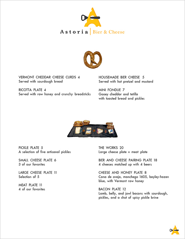 New Astoria Bier u0026 Cheese menu design Front Side  sc 1 st  Pratt Portfolios - Pratt Institute & Menu Design for Astoria Bier u0026 Cheese on Pratt Portfolios