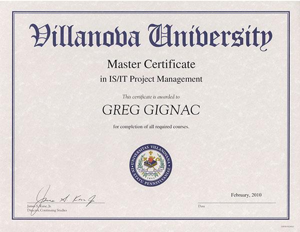Villanova university master certificate applied project management
