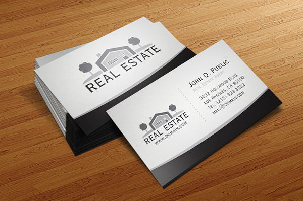 Elegant real estate business card template on behance accmission Images