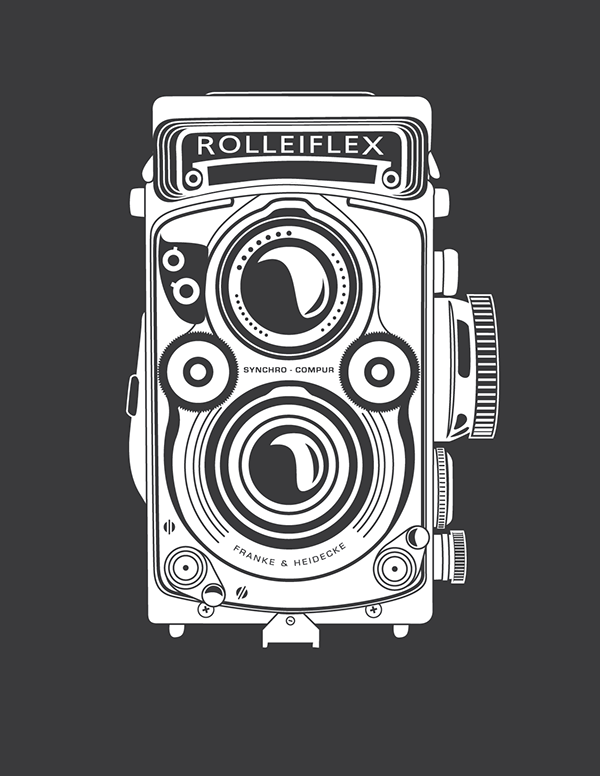 Rolleiflex Camera Drawing Original Illustration