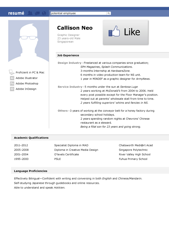 facebook resume on behance