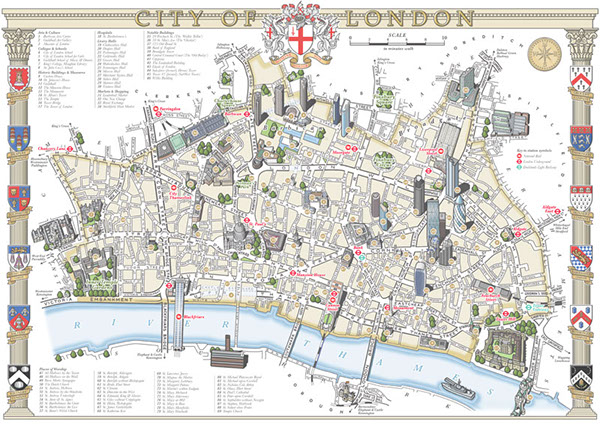 Map Of City Of London.The City Of London Illustrated Map On Behance