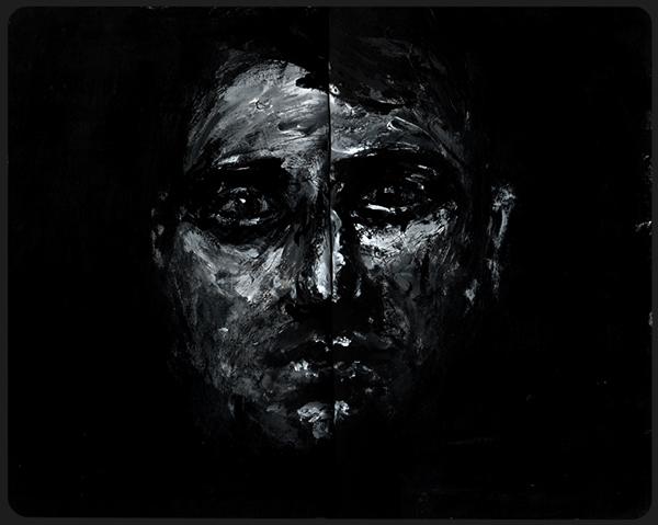 Portrait peinture acrylique on behance for Peinture acrylique