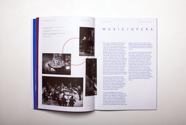 book biennial report cover report red Indygo annual report frames The Polish Cultural Institute in London London