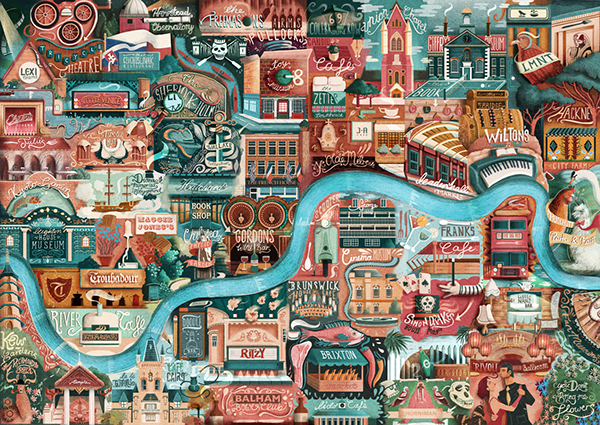map London detail sketch city busy lettering Falmouth great little place Huffington texture