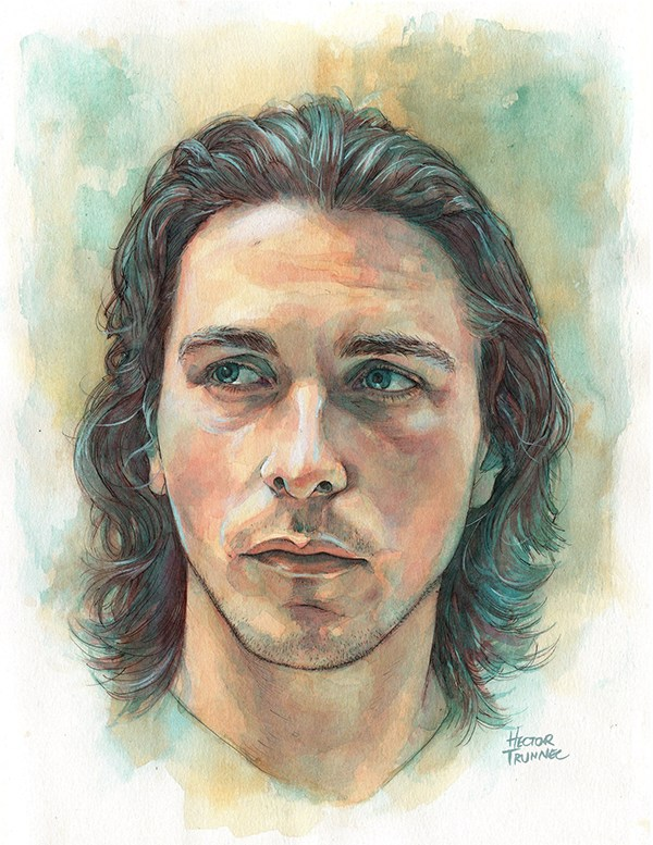 Christian Bale (watercolor) by Hector Trunnec