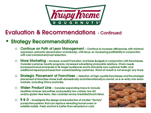 krispy kreme internal strength and weaknesses Weaknesses size high operating cost lack of internal focus (too much focus on expansion) ever increasing number of competitors in a growing market.