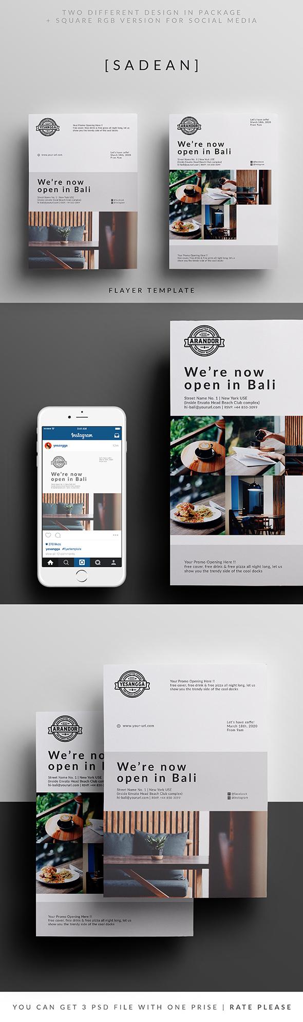 sadean restaurant opening flyer template on behance