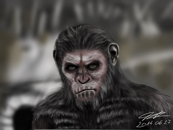 Caesar Drawing Dawn Planet Apes Caesar Draw