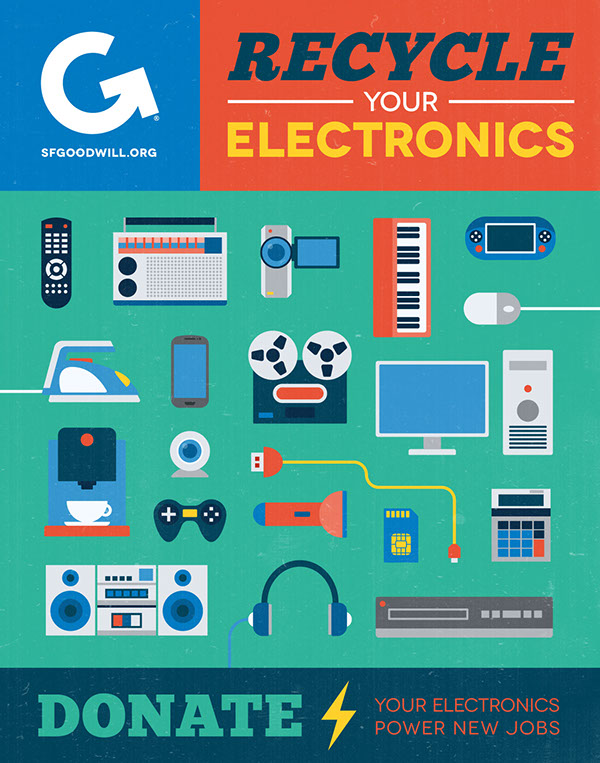 poster icons flat design vintage goodwill recycling Sustainability Electronics tech non profit environment