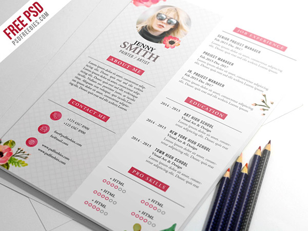 free psd   painter artist cv resume template psd on behance