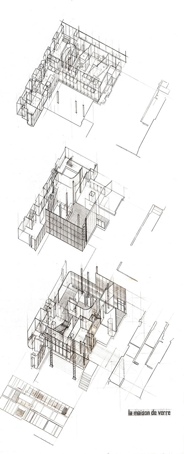 la maison de verre unfolding the privacy on behance. Black Bedroom Furniture Sets. Home Design Ideas