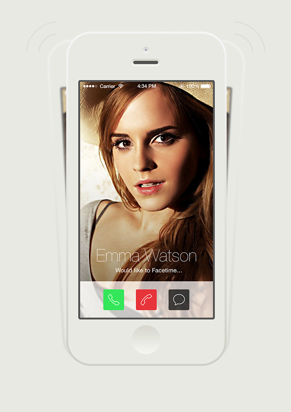 app facetime UI ux Interface iOS 7 iphone redesign flat transparent social messaging new