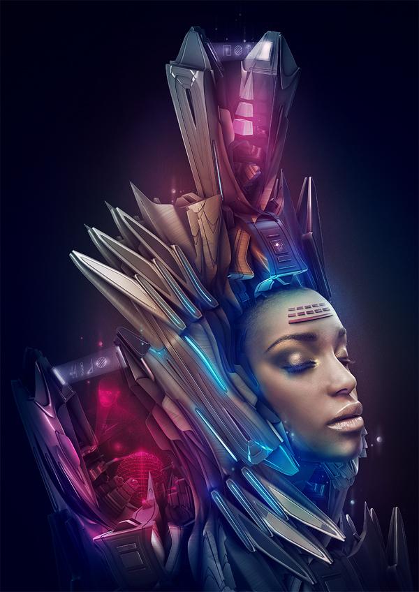 queen blue pink dark Space  astral guardian