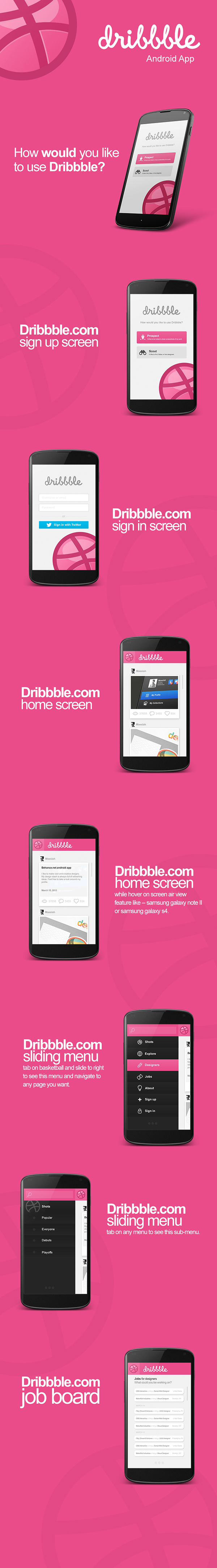 Dribbble.com Android app user interface design on Behance