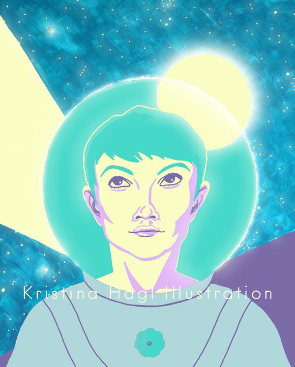 ILLUSTRATION  weltraum Space  Astro woman portrait Porträt editorial astronaut galaxy