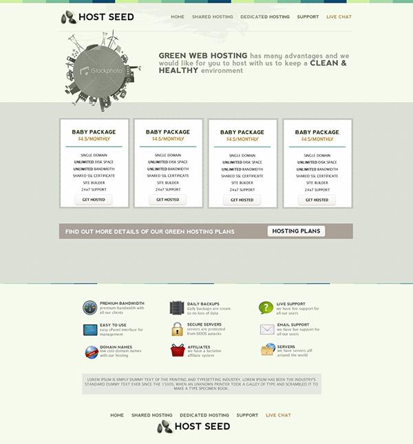 green Web hosting webhosting simple minimal old