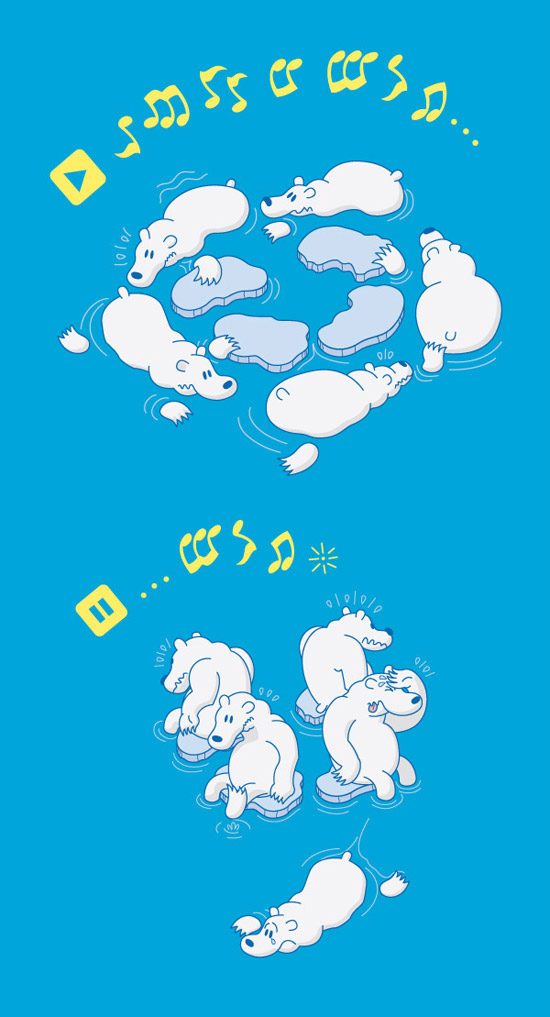 Polar bears playing musical chairs with the remaining ice floes