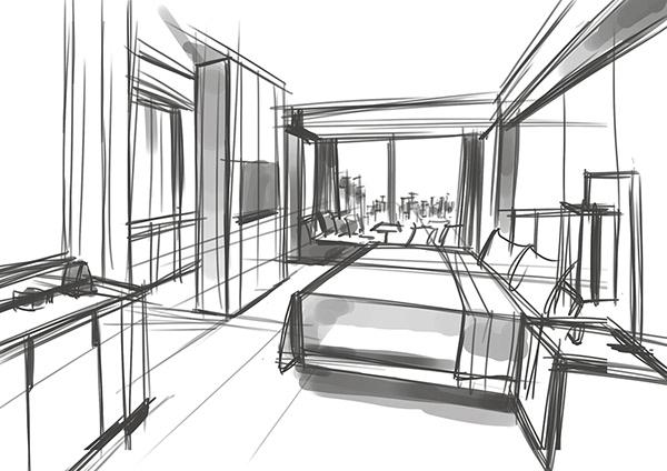 有獨特感的19套室內設計手繪欣賞
