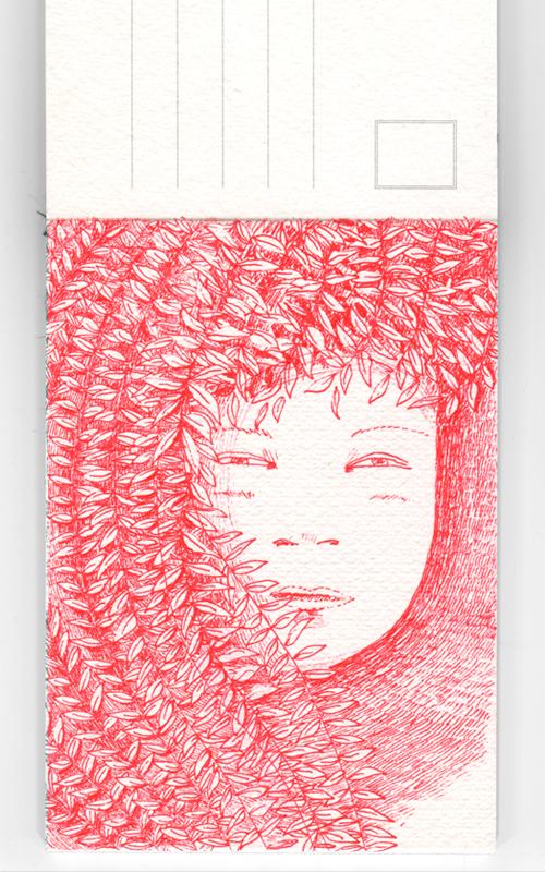 ink  postcard  sELF-PROMOTION  hand-made bichromie  monochrome