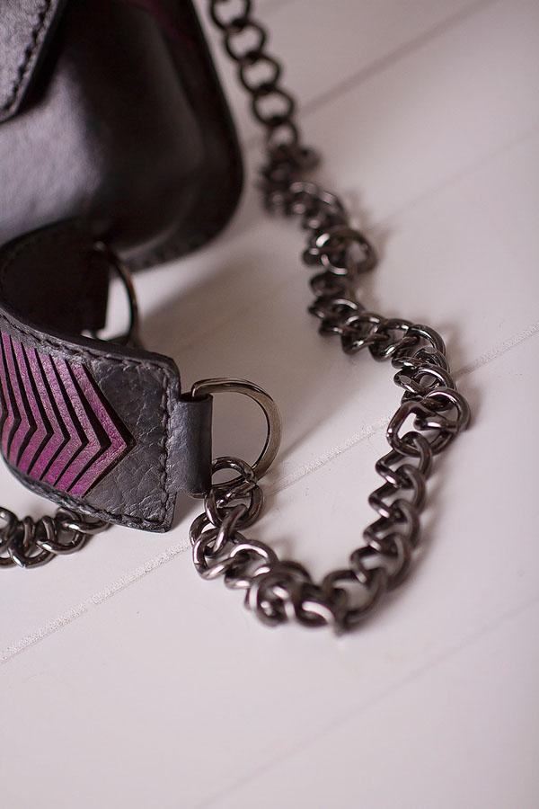 handbag bag Technology Lasercut laseretch leather dyeing paint accessories design black chain gunmetal Illustrator handmade