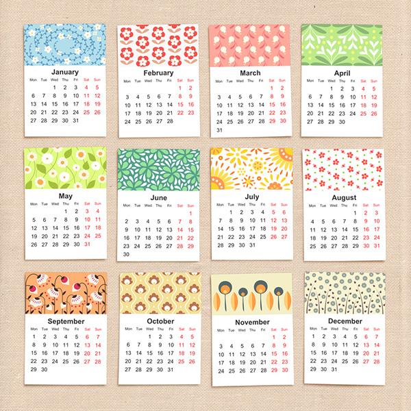 Printable Calendar Graphic Design : Floral calendar on behance