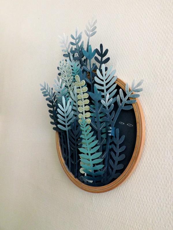 paper engineering collage leave vegetation sculpture blue gradiant wood silence artwork frame wall