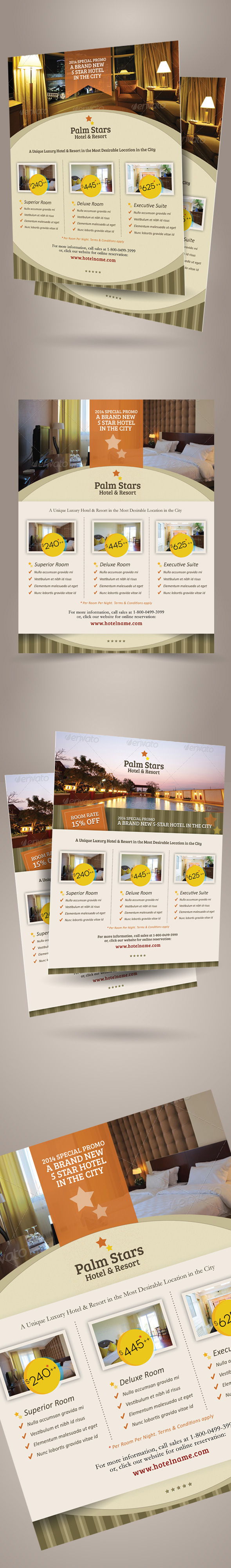 hotel promotion flyer template vol on behance this flyer template is perfect for promoting your hotel resort villa and other type of accommodation you will get three design variation for a single
