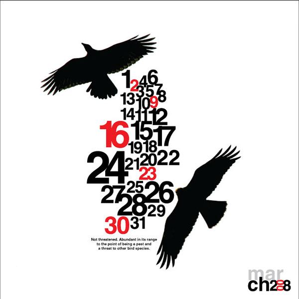 Calendar Typography S : Crow calendar design on behance