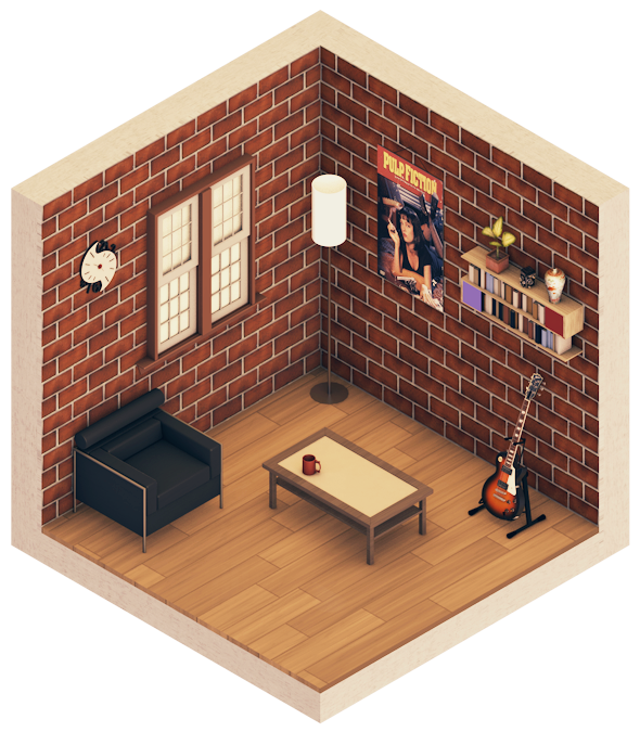 Urban room 1 isometric on behance for Living room cinema 4d