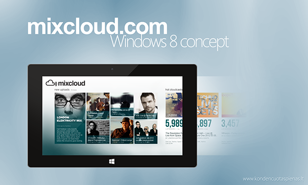 Mixcloud com Application Concept for Windows 8 on Behance