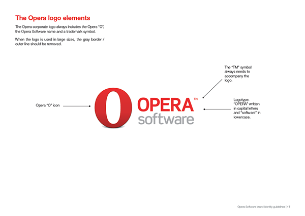 Opera Software - Old branding identity guidelines on AIGA Member Gallery