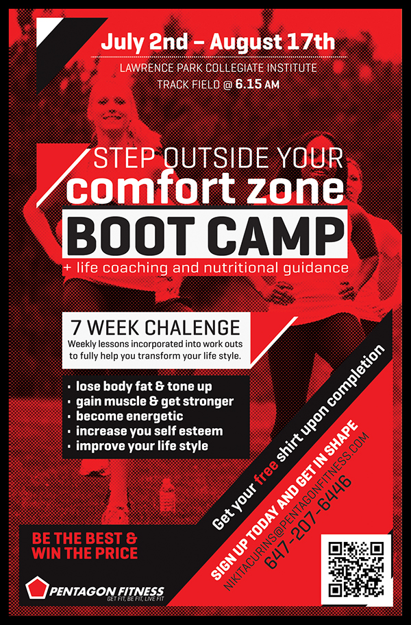 Pentagon Fitness Bootcamp Flyers On Pantone Canvas Gallery