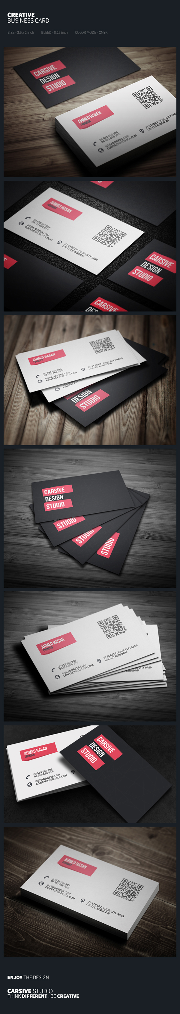 business card template design sleek clean black abstract White
