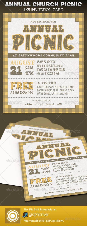 annual church picnic invite card template on behance