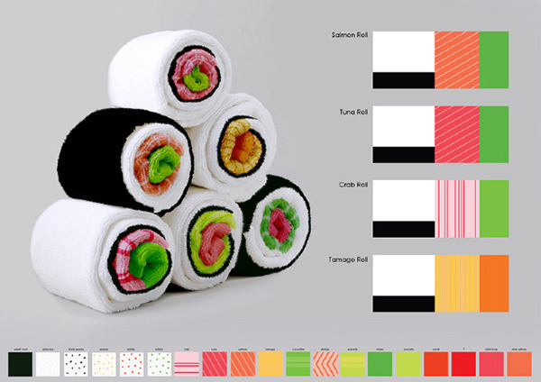 Sushi Towels by Jenny Pokryvailo