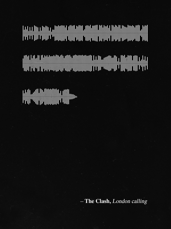 daft punk Led Zeppelin Phoenix the xx david bowie the clash Stardust the knife Fatboy slim Quotes waveform poster