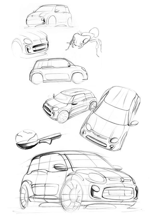 fiat car due sketch rendering
