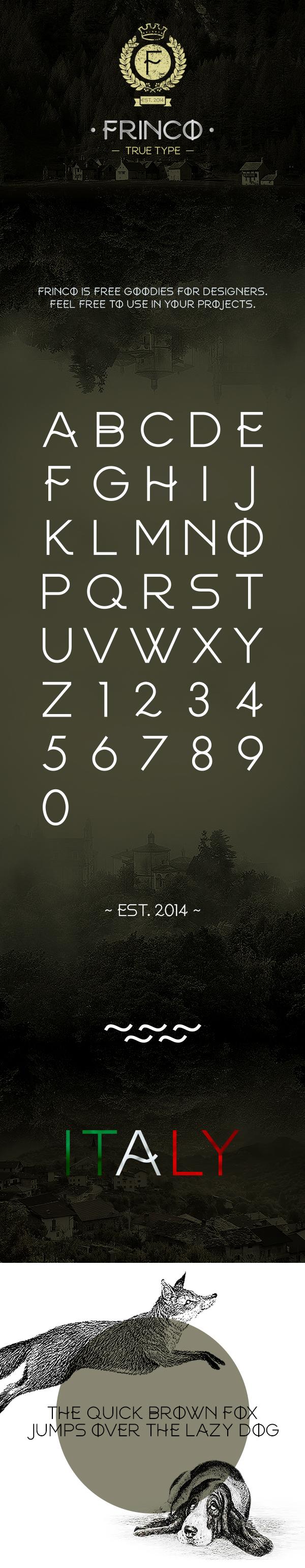 Free font font Typeface caps uppercase FRINCO