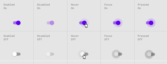 toggle UI / UX switch mobile design elements ON / OFF controls segmented light switch toggle switch